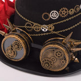 Steampunk Gears Floral Black Top Hat with Goggles Decoration