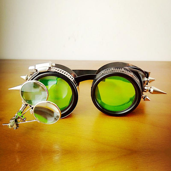 Steampunk Round Spiked Goggles single - Go Steampunk
