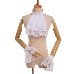 Victorian Detachable Lace Ruffle Jabot Steampunk Collar & Cuff Set