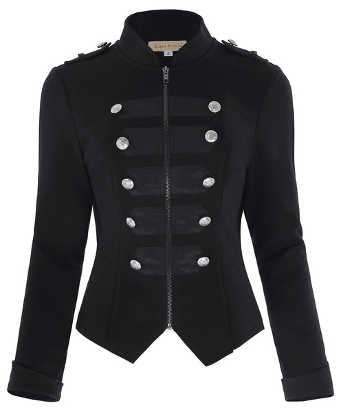 Victorian Zipper Front Military Jacket Black / L - Go Steampunk