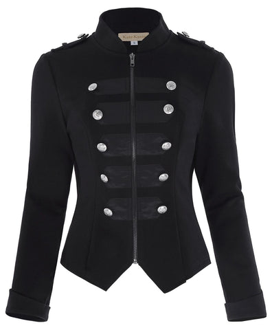 Victorian Zipper Front Military Jacket
