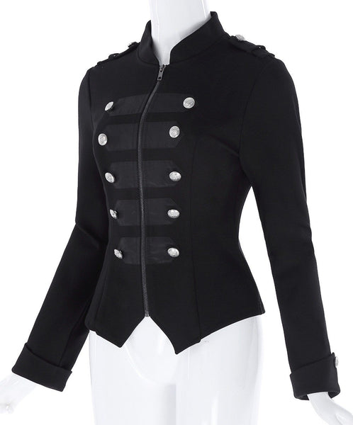 Victorian Zipper Front Military Jacket - Go Steampunk