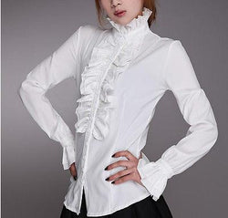 Victorian Womens Ruffled Shirt White / L - Go Steampunk
