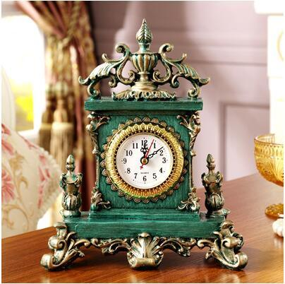 Vintage European style table clock green - Go Steampunk