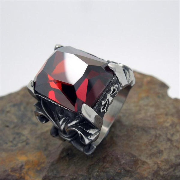 Vintage Glam Red CZ Fleur De Lis Rings For Men