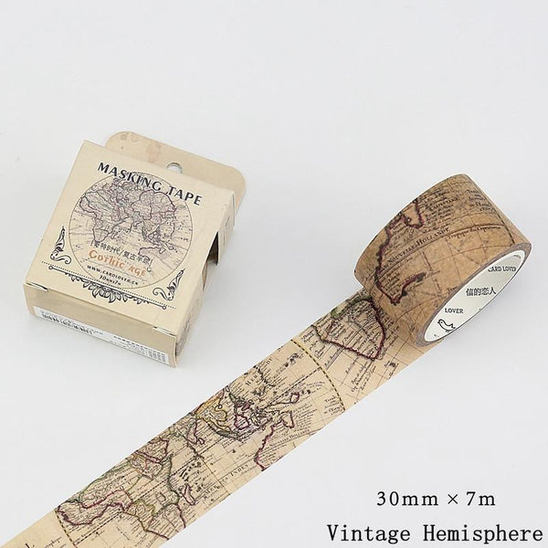 Vintage Hemisphere Map and Other Washi Adhesive Tape - Go Steampunk