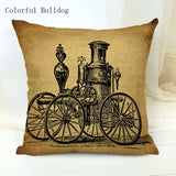 Vintage Phonograph Sewing Machine Clock Cushion Cover - Go Steampunk