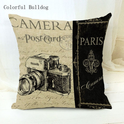 Vintage Phonograph Sewing Machine Clock Cushion Cover 450mm*450mm / 1 - Go Steampunk