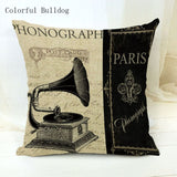 Vintage Phonograph Sewing Machine Clock Cushion Cover