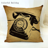 Vintage Phonograph Sewing Machine Clock Cushion Cover 450mm*450mm / 7 - Go Steampunk