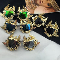 Vintage Retro Sunglasses Golden Frame Baroque gold Butterfly Flower Sunglasses - Go Steampunk