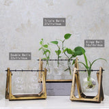 Vintage Style Glass And Wood Tabletop Decorative Vase Set