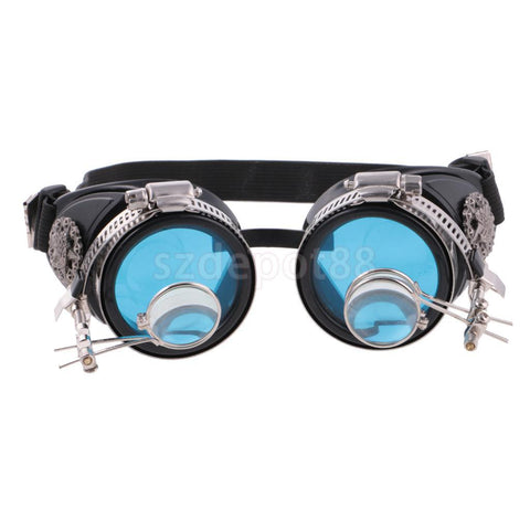 Blue Lens Steampunk Goggles with Magnifying Loupes