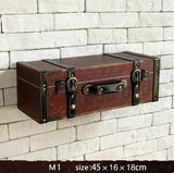Vintage retro Vegan leather painted Luggage box decorative wall decoration