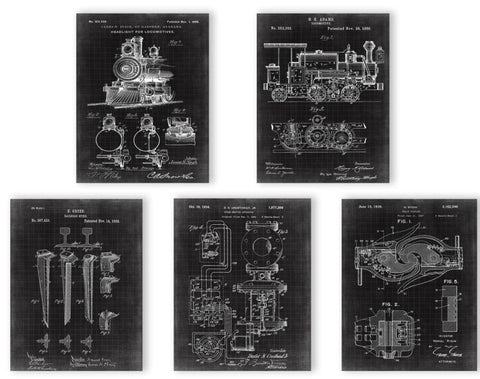 Vintage Train Patent Sketch Art Poster Sets 5 in 1 Wall Art Set