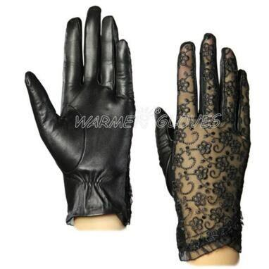 Women's Genuine Nappa Leather & Lace Unlined leather Gloves Black / L - Go Steampunk