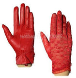 Women's Genuine Nappa Leather & Lace Unlined leather Gloves red / L - Go Steampunk