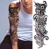 Full Mechanical Arm Waterproof Temporary Tattoo Yellow - Go Steampunk