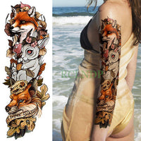 Full Mechanical Arm Waterproof Temporary Tattoo Red - Go Steampunk