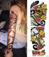 Full Mechanical Arm Waterproof Temporary Tattoo Orange - Go Steampunk