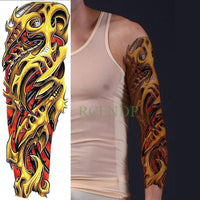 Full Mechanical Arm Waterproof Temporary Tattoo Violet - Go Steampunk