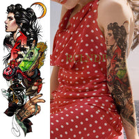 Full Mechanical Arm Waterproof Temporary Tattoo Sky Blue - Go Steampunk