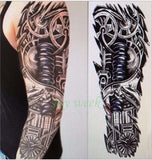 Full Mechanical Arm Waterproof Temporary Tattoo Monochrome - Go Steampunk