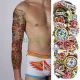 Full Mechanical Arm Waterproof Temporary Tattoo Green - Go Steampunk