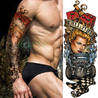 Full Mechanical Arm Waterproof Temporary Tattoo Black - Go Steampunk