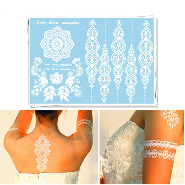 White Temporary Tattoos 25 Designs - Go Steampunk