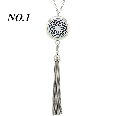 Stainless Steel Aromatherapy Essential Oils Diffuser Necklace with Tassel
