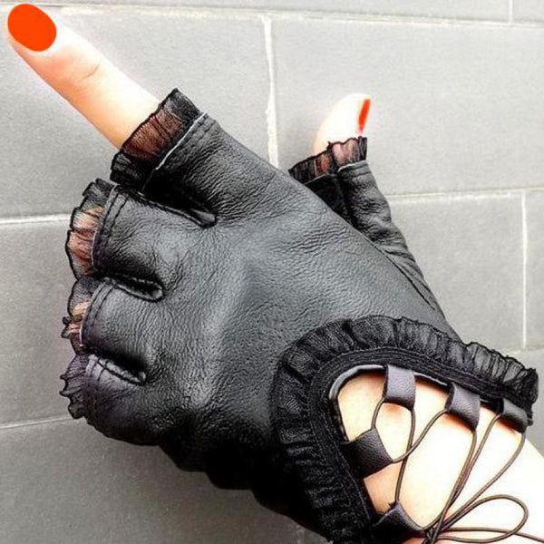 Black Half Finger Genuine Leather Gloves Soft Sheepskin Lace Trim