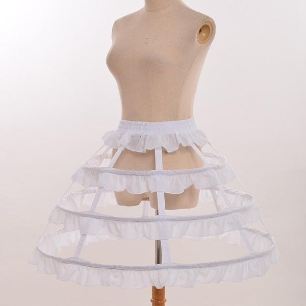 Vintage Victorian Petticoat Underskirt for Ball Gown 3 hoops White / One Size - Go Steampunk