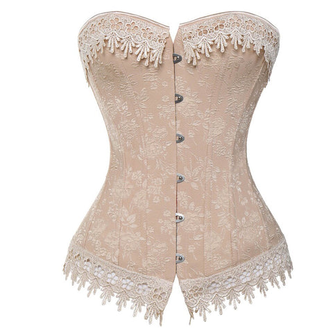 Women's Floral Lace up Plus Size Corset Nude / S / China - Go Steampunk