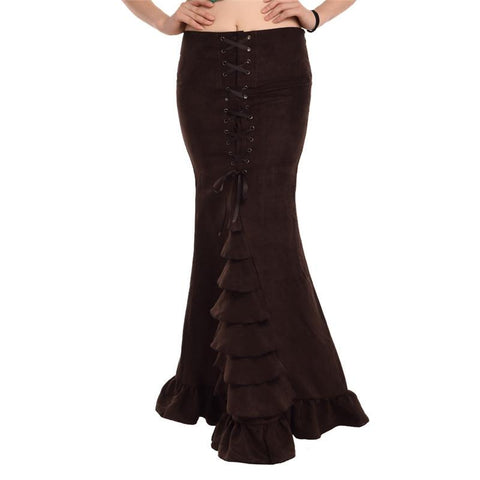 Steampunk Mermaid Skirt with lace up and ruffles