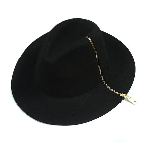 Black Zipper style 100% Pure Cashmere Wool Hats