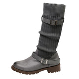 Warm Buckle Strap Boots Gray / 35 - Go Steampunk