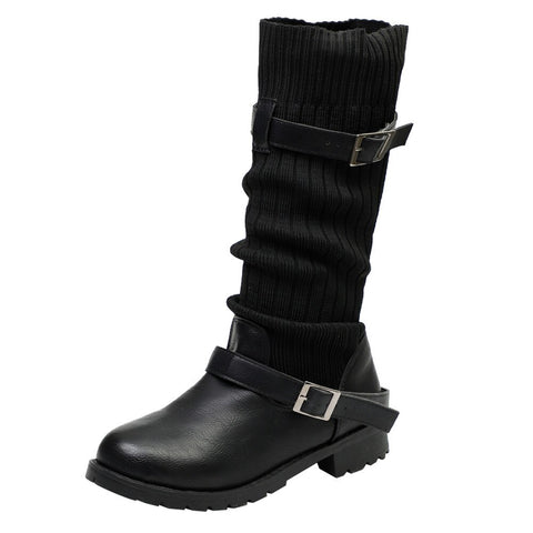 Warm Buckle Strap Boots Black / 35 - Go Steampunk