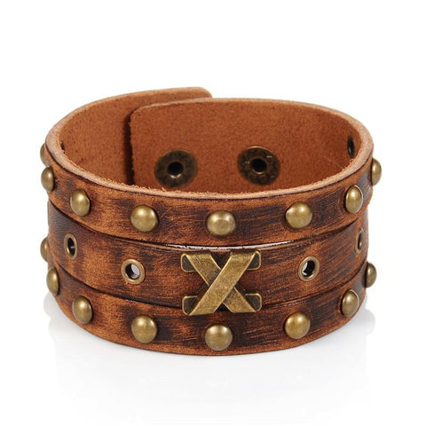 Steampunk Rivets and More Wide Leather Leather Wristband