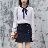 Double Row Buttoned Mini Skirt