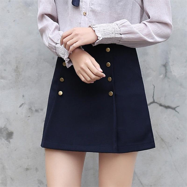 Double Row Buttoned Mini Skirt Navy / S - Go Steampunk