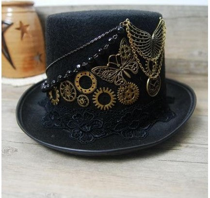 Vintage Gear Butterfly Black Steampunk Top Hat - Go Steampunk