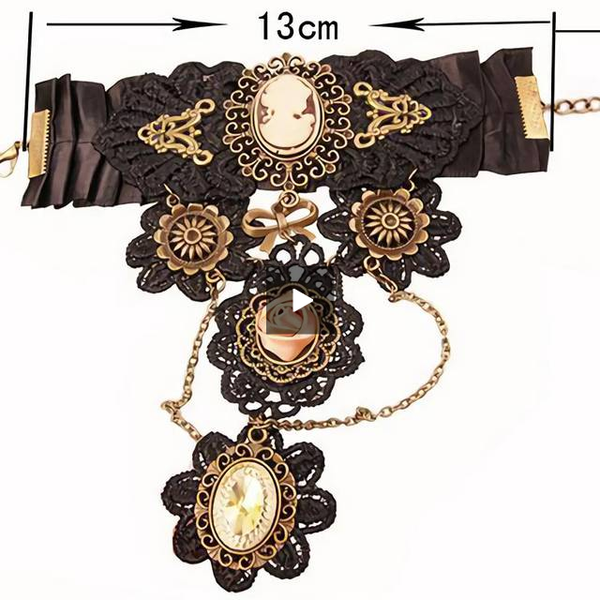 Black Lace Cameo Steampunk Finger Connect Bracelet Default Title - Go Steampunk
