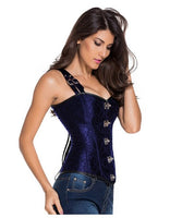 Red Brocade Double Shoulder Buckle Corset - Go Steampunk