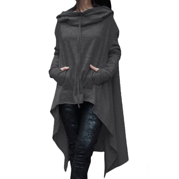 Long Pullover Plus Size Hoodie Dark Gray / L - Go Steampunk