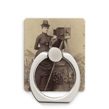 Load image into Gallery viewer, Victorian Lady Photographer Phone Stand White / Square - Go Steampunk