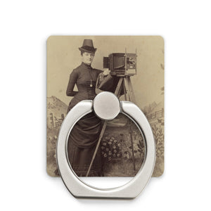 Victorian Lady Photographer Phone Stand White / Square - Go Steampunk