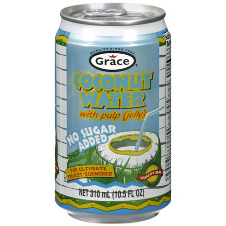GRACE CARIBBEAN: Coconut Water with Pulp Sugar Free 100% Natural, 10.5 oz
