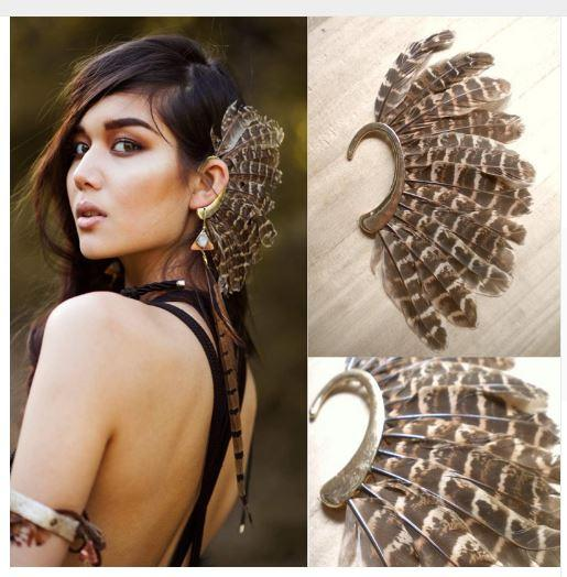 Big Feather Ear Cuff - Go Steampunk