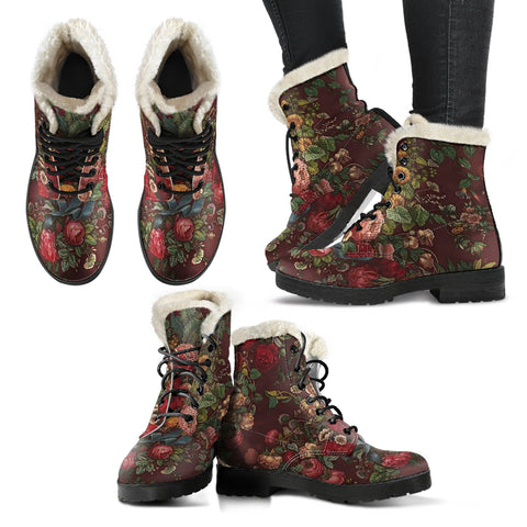 Floral Chintz Faux Fur Lined Vegan Leather Boots - Go Steampunk